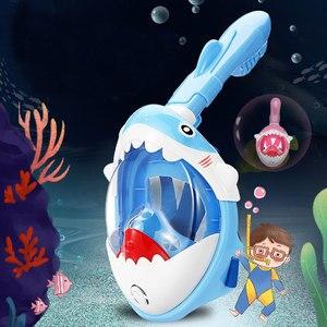 New Boys Girls Cartoon Swimming Full Face Snorkeling Mask Kids Underwater Scuba Anti Fog Snorkel Diving Mask Set Equipment(China)