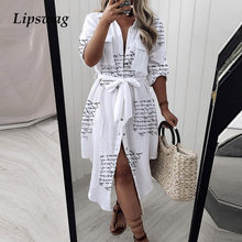 Summer Women Casual Letter Print Shirt Maxi Dress Turn-Down Collar Long Sleeve Party Dresses Ladies Casual Button Dress Belted