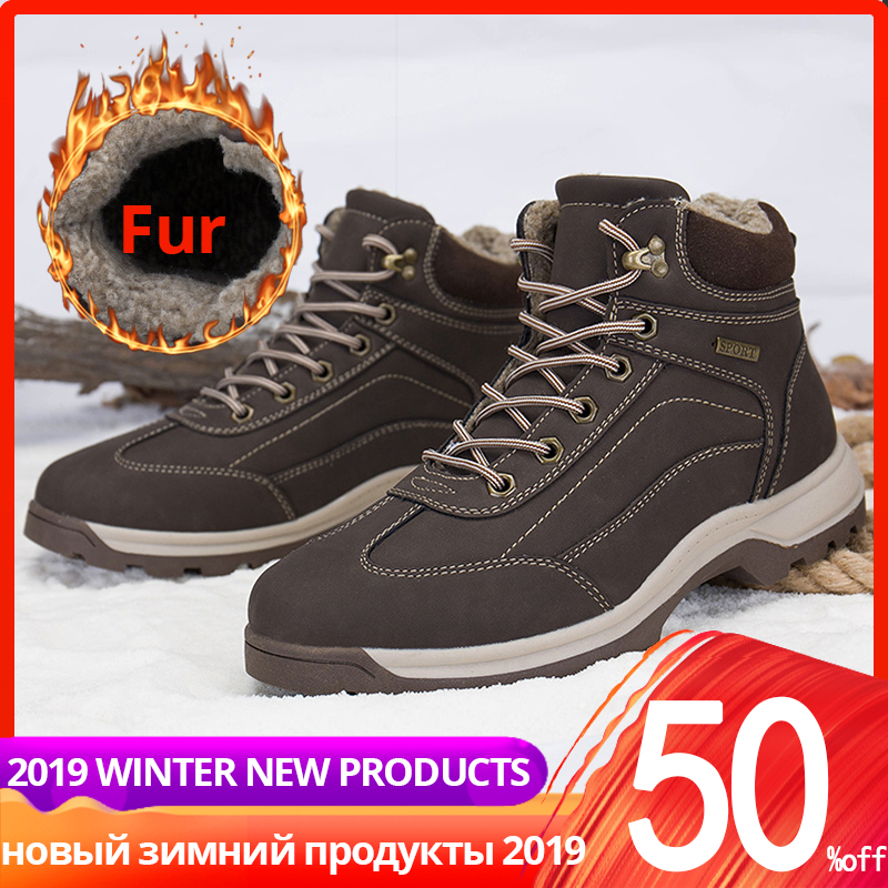 Shoes Men Winter Leather With Fur Plush High Quality Warm Casual High Top Ankle Winter Boots Men #XW8058