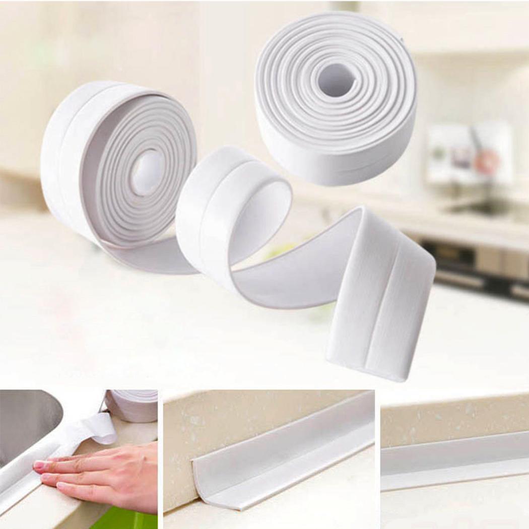 Kitchen Self Adhesive Sink Caulk Waterproof Sealing Tape Toilet Strip White Sealant