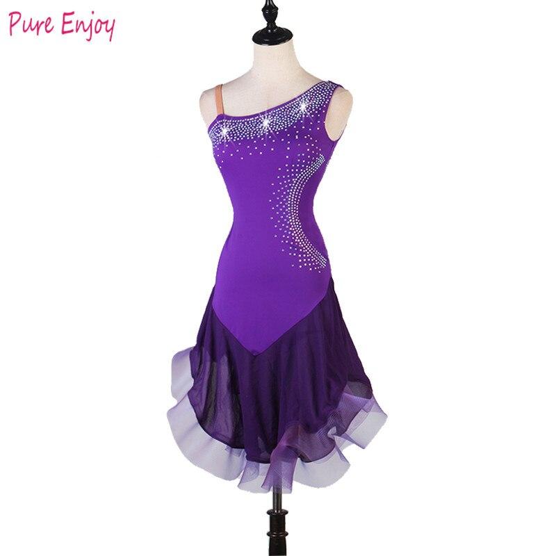 Customized Latin Dance Competition Dresses Performance Dresses Wine Purple Slant Shoulder Water Drill Fishbone Skirt