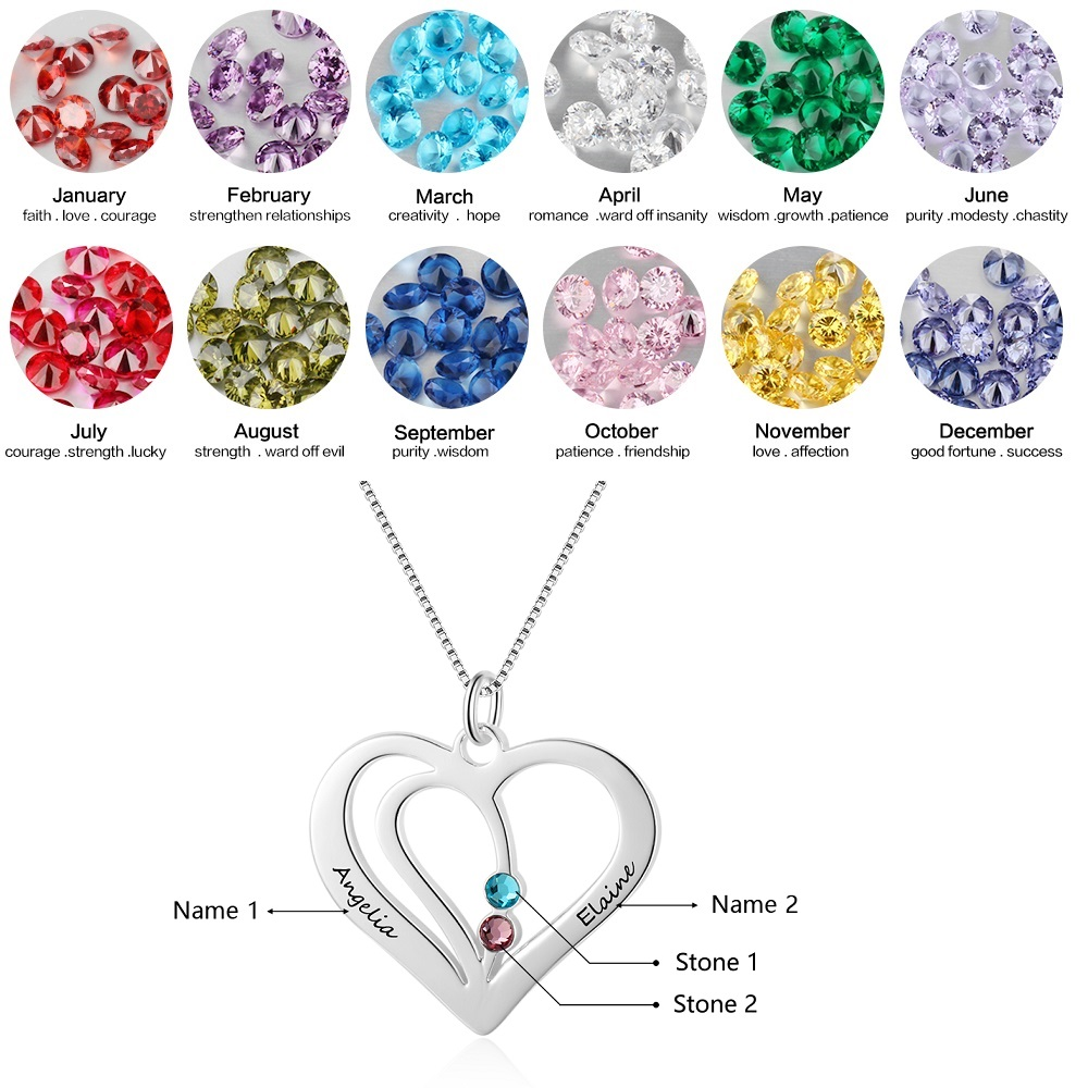 FORTUN 925 Sterling Silver Promise Necklace Personalized 2 Birthstone Name Necklace