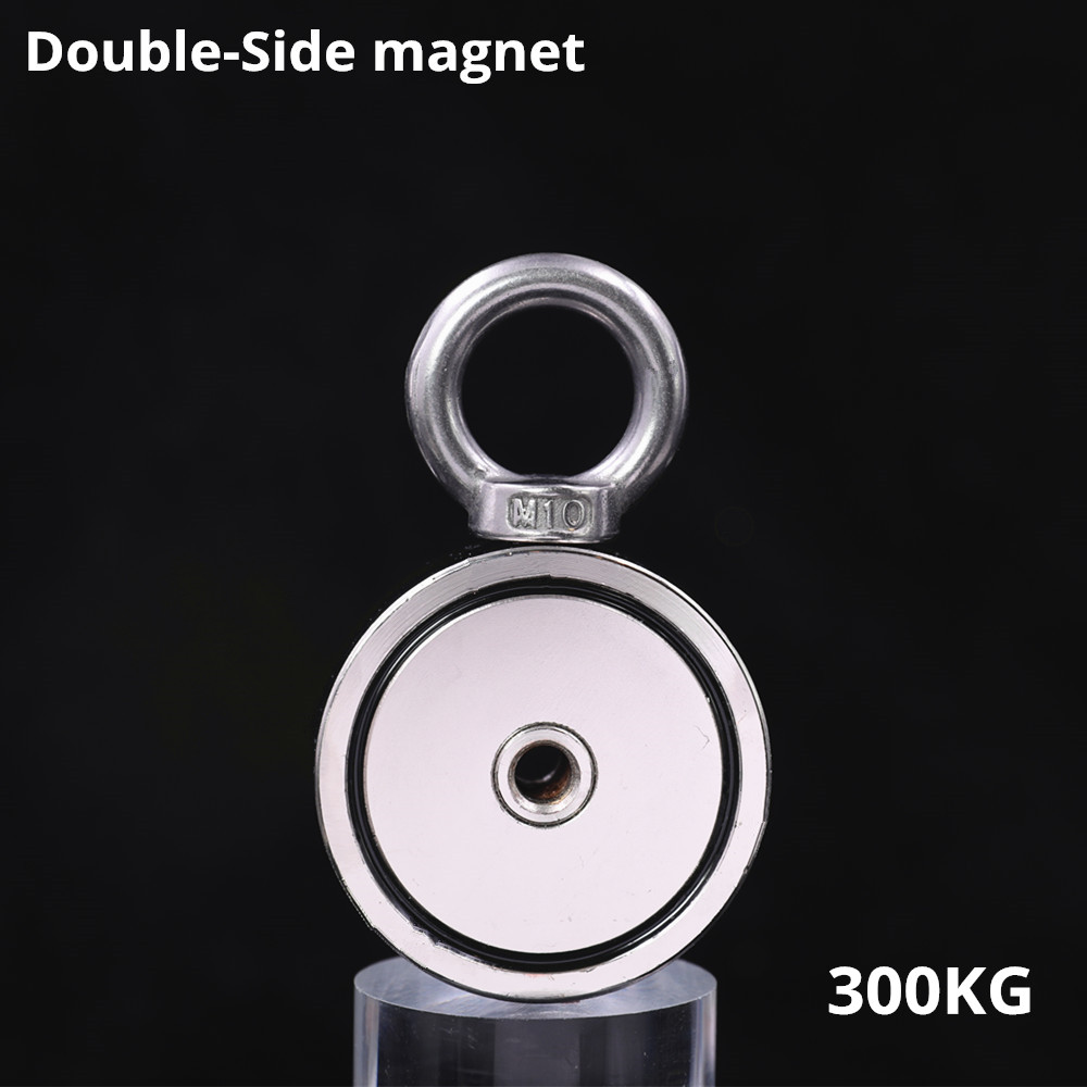 Neodymium Magnet 400KG Strong Double Side Salvage Fishing Magnet Hook 74*28mm Pulling Mounting Pot With Ring Hole Sea Equipment