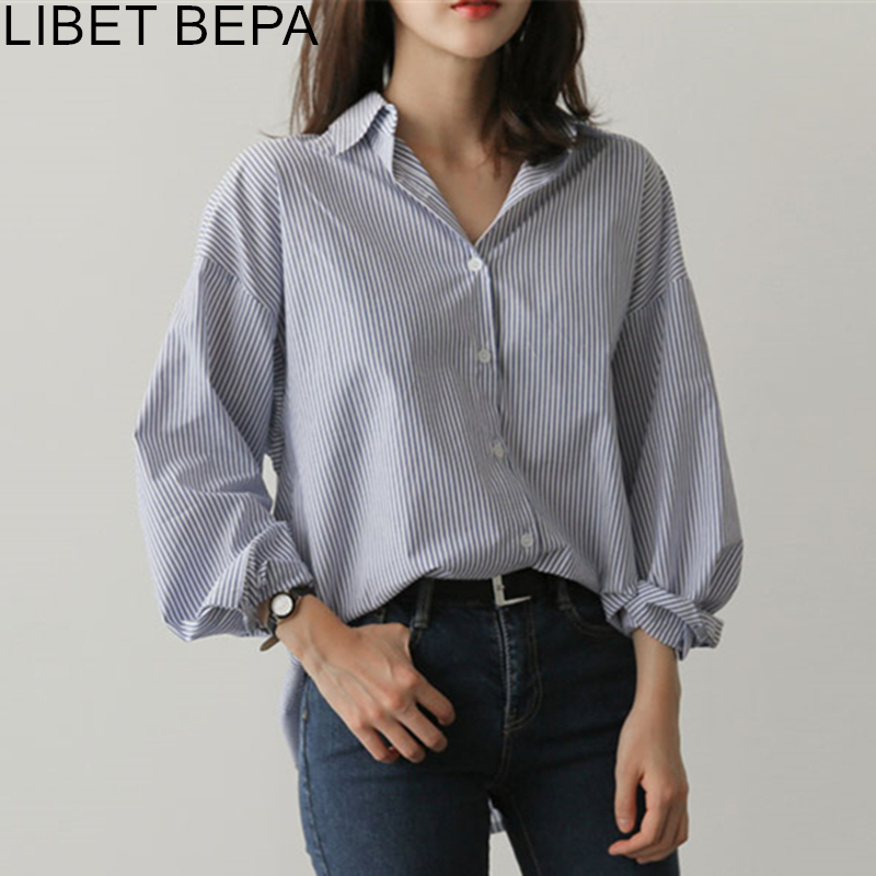 New 2020 Spring Summer Women's Blouse Casual Fashionable Striped Single Breasted Shirt Back Pleated Asymmetrical Tops BL1729