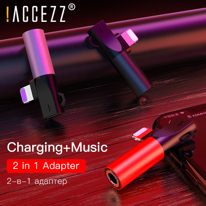 !ACCEZZ For Apple Iphone 2 In 1 Audio Adapter For IPhone 7 8 Plus XS Max XR Splitter To 3.5mm Jack Earphone Headphone Connector