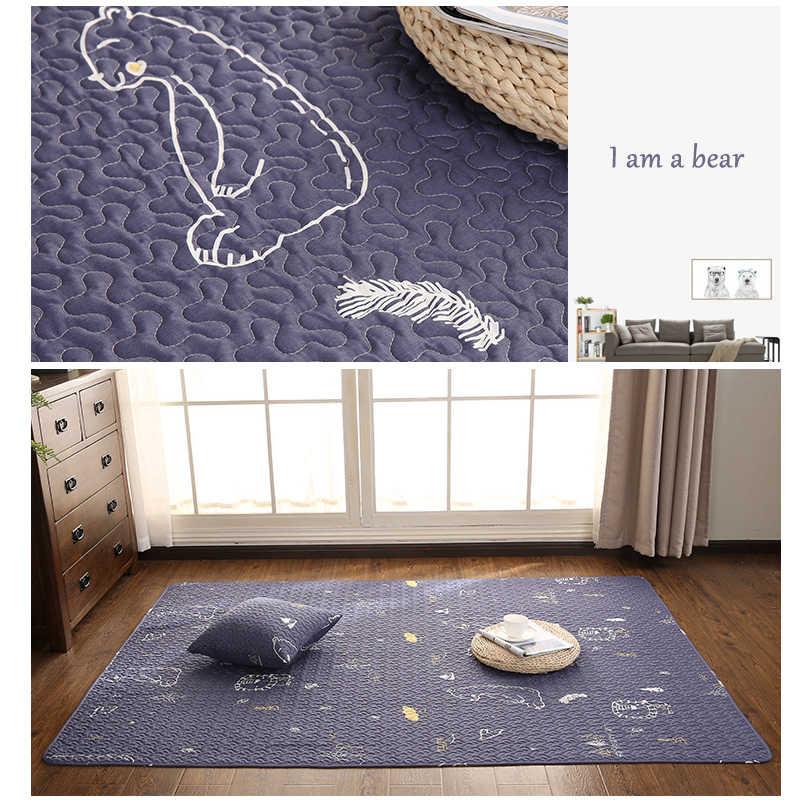 綿カーペットクロール畳マット寝室のベッドサイドラグカーペットスリップ毛布屋外テントカーペットソファクッショングレー白ソフトクッション