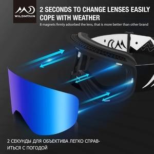 Image 3 - Wildmtain gm1 magnético óculos de neve dupla camada anti nevoeiro óculos de esqui, lente intercambiável uv400, masculino feminino crianças óculos de esqui