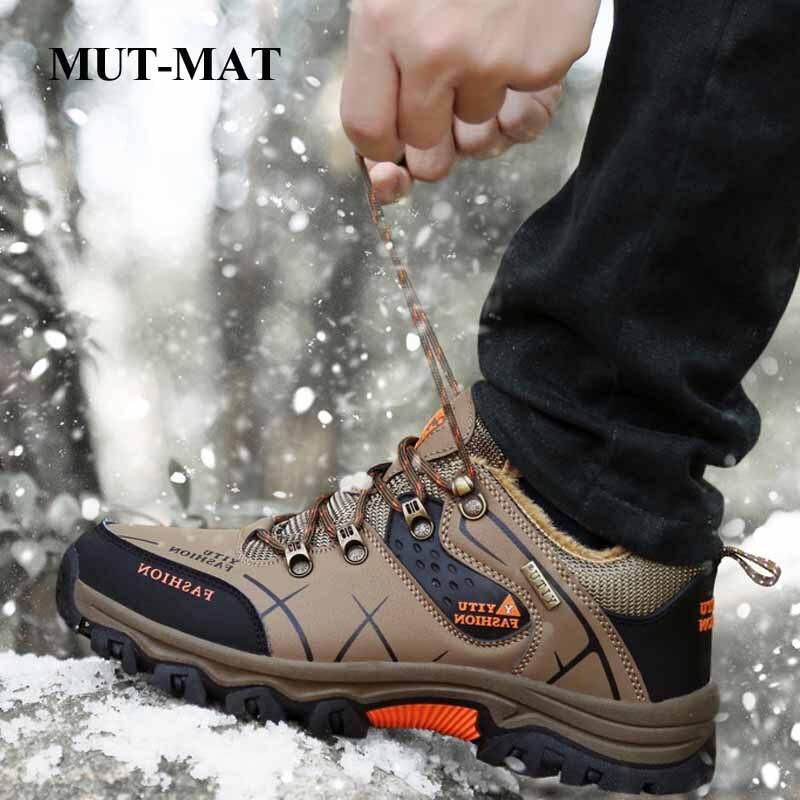 Large Size Men's Shoes Winter Outdoor Hiking Shoes Men's High-top Walking Shoes Plus Velvet  Cotton Snow Boots Men's Footwear