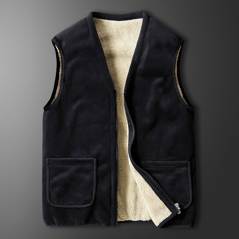 Plus Size 5XL Thicken Fleece Men Vests Winter V-Neck Sleeveless Pockets Warm Men's Tops Vest 2020 Black Fashion Male Jackets