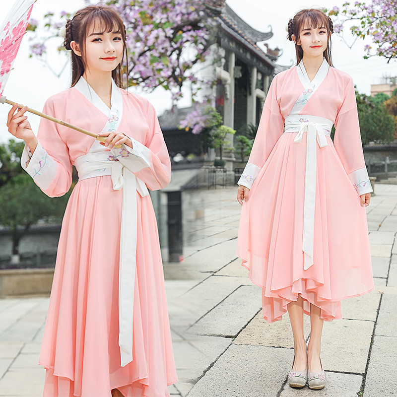 Reform Hanfu Women Classical Dance Costume Embroidery Chinese Fairy Dress Folk Festival Outfit Stage Performance Clothes DF1526
