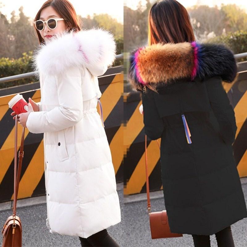 Winter Coat Women White Down Jacket High Quality Long Korean Thick Big Fur Collar Jackets Winter Womens Sobretudo KJ436