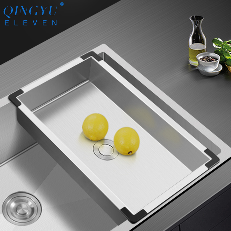 304 Stainless Steel Kitchen Sink Drain Basket Household Multifunctional Single And Double Sink With Drain Basket