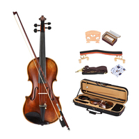 Vintage Ebony Acoustic Violin 4/4 Full Size Violin Fiddle with Case Accs #1