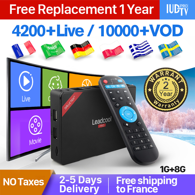 Leadcool Pro RK3229 Android 8.1 1+8G English German Italian Turkish IPTV Spain Europe IUDTV IP TV 1 Year Smart Box