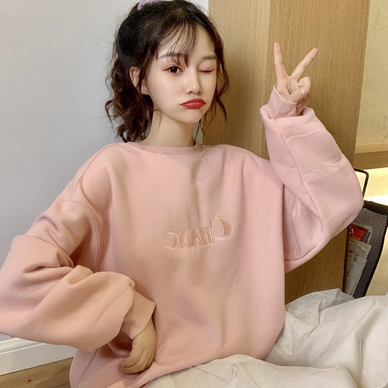 Women Plus Velvet Sweatshirt Letters Embroidered Simple Tops Sweet Long Sleeve Round Collar Sweatshirt Pullover