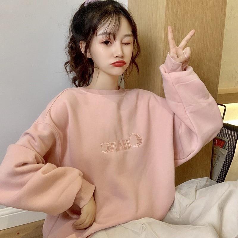 Women Plus Velvet Sweatshirt Letters Embroidered Simple Tops Sweet Long Sleeve Round Collar Sweatshirt Pullover