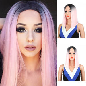 Straight Wig Cosplay Black Pink Long Synthetic Women Heat-Resistant Ombre 50cm Medium