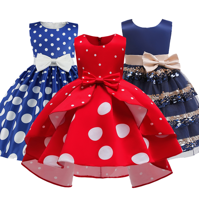 Elegant   Girl   Princess   Dress   Dots Bow 2019 Children Christmas Performance Show Costume Kids   Dresses   For   Girls   2 4 8 10 Years