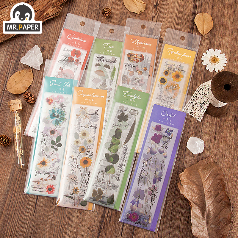 Mr.paper 8 Designs Flowers Diary Series Botany Stickers Creative Bullet Journal Stationery School Scrapbooking Deco Stickers