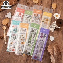 Mr.paper 8 Designs Flowers Diary Series Botany Stickers Creative Bullet Journal Stationery School Scrapbooking Deco