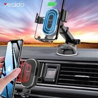 Cargador inalámbrico Yesido 2 en 1 10W Qi para iPhone 11 Pro Max cargador inalámbrico rápido para coche auto gravity soporte de teléfono para Samsung