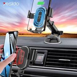 Yesido 2 W 1 10W bezprzewodowa ładowarka qi dla iPhone 11 Pro Max szybka bezprzewodowa ładowarka samochodowa auto gravity samochodowy telefon uchwyt na samsunga w Ładowarki bezprzewodowe od Telefony komórkowe i telekomunikacja na