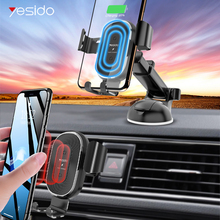 Yesido 2 in 1 10W Qi Wireless Charger for iPhone 11 Pro Max Fast car wireless Charger auto gravity car Phone Holder for Samsung qi car wireless charger for iphone 11 pro xs max xr 8 10w fast wireless charging car phone holder air vent mount auto induction