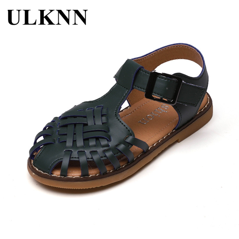 ULKNN CHILDREN'S Sandals 2020 Summer Girls Hollow Out Shoes Rome Woven Shoes Rubber Sole Sandals Hot Selling
