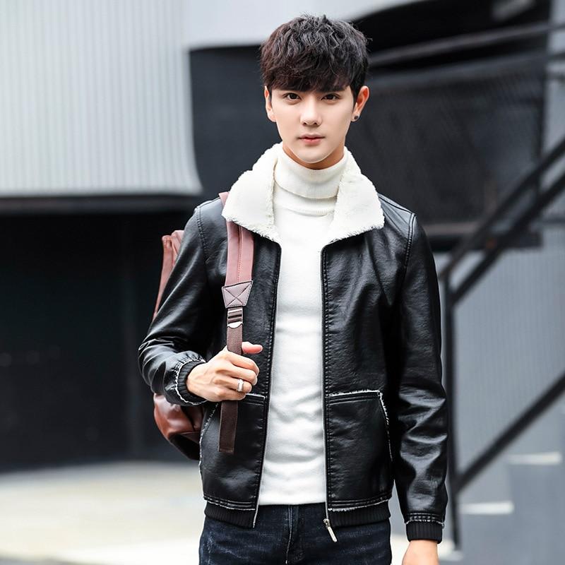 2019 New Style Simple Pu Fur Coat Men's Winter Short Slim Fit Plus Velvet Leather Coat Warm Coat
