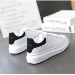 Neue Weiße Schuhe Frauen Plattform Chunky Trainer Erhöhen Flachen Boden Skateboard Schuhe größe 35-44