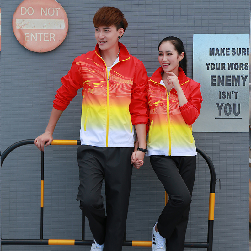 Spring And Autumn Sports Couples Set Gradient Men And Women Fitness Running Sports Clothing Outdoor Casual Large Size Long-sleev
