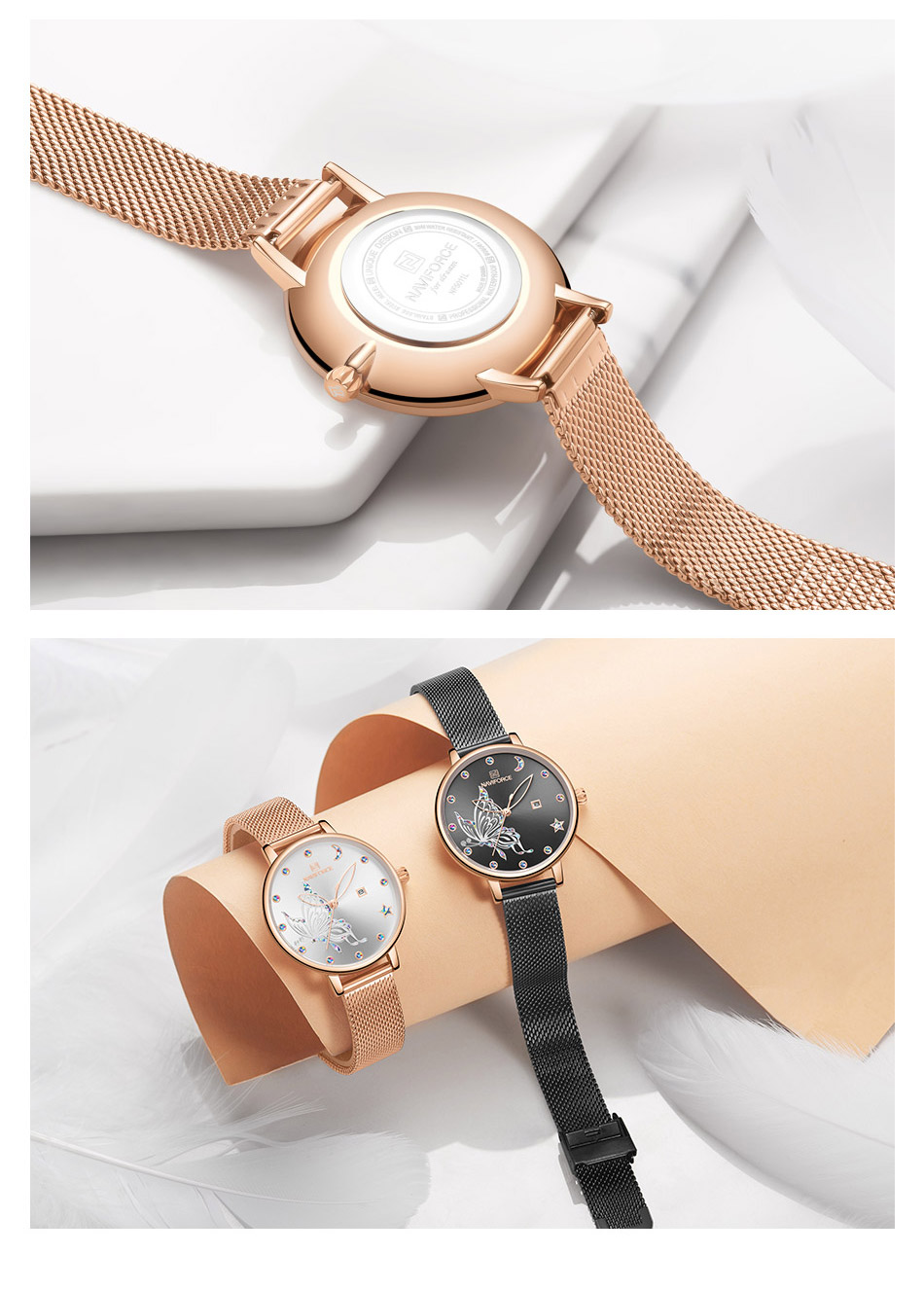 H59737f5191e345f19c1ba7f05141aedcu - NAVIFORCE Luxury Brand Watch Women Fashion Dress Quartz Ladies Mesh Stainless Steel 3ATM Waterproof Casual Watches for Girl