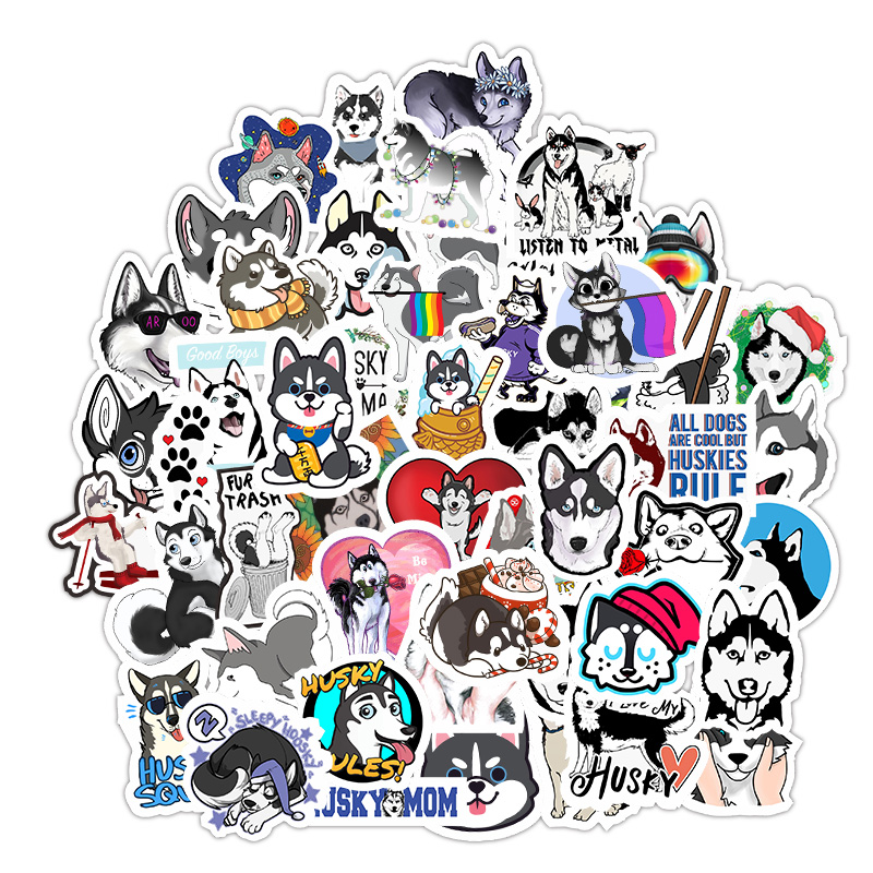 49PCS Husky Cartoon Stickers Cute Animals Dog For Moto Car Suitcase Skateboard Phone Laptop Cool Stickers Skateboard Sticker F5