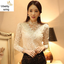 Ladies Fashion Chiffon Slim Fit Long Sleeved Stand Collar Crochet Women Blouse Lace Shirt Beading Princess Female Tops(China)