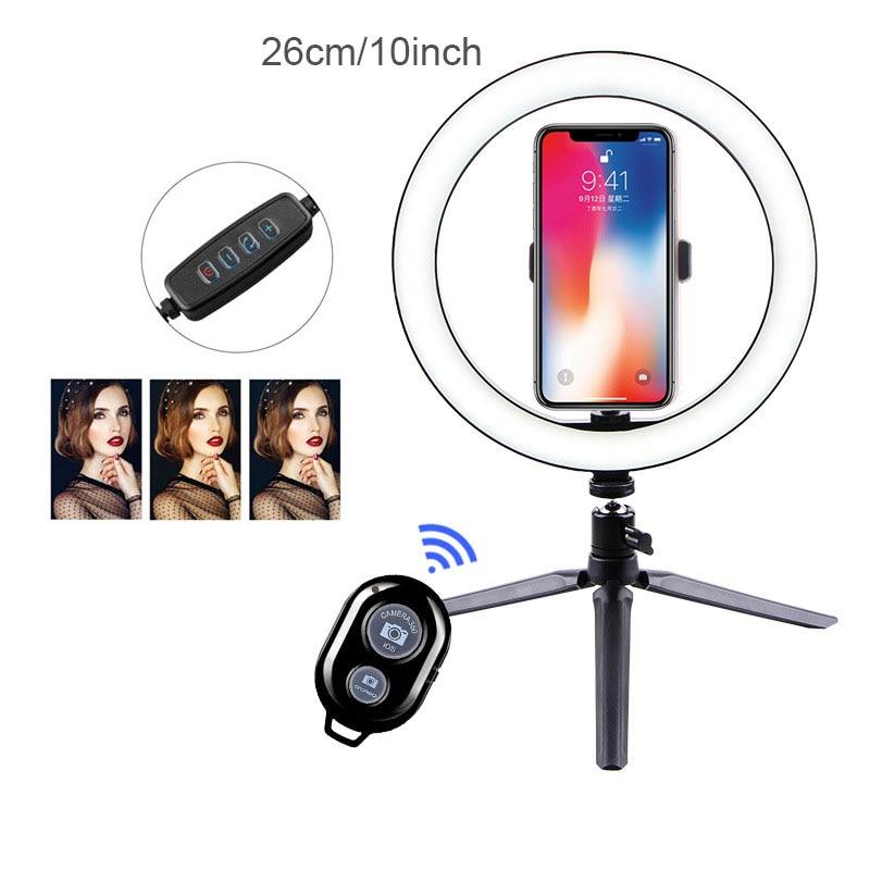 26cm Photography Table LED Light Tripod Ring Lamp Youtube Video Live Photo Studio Bluetooth Selfie Stick Makeup Light For Phone