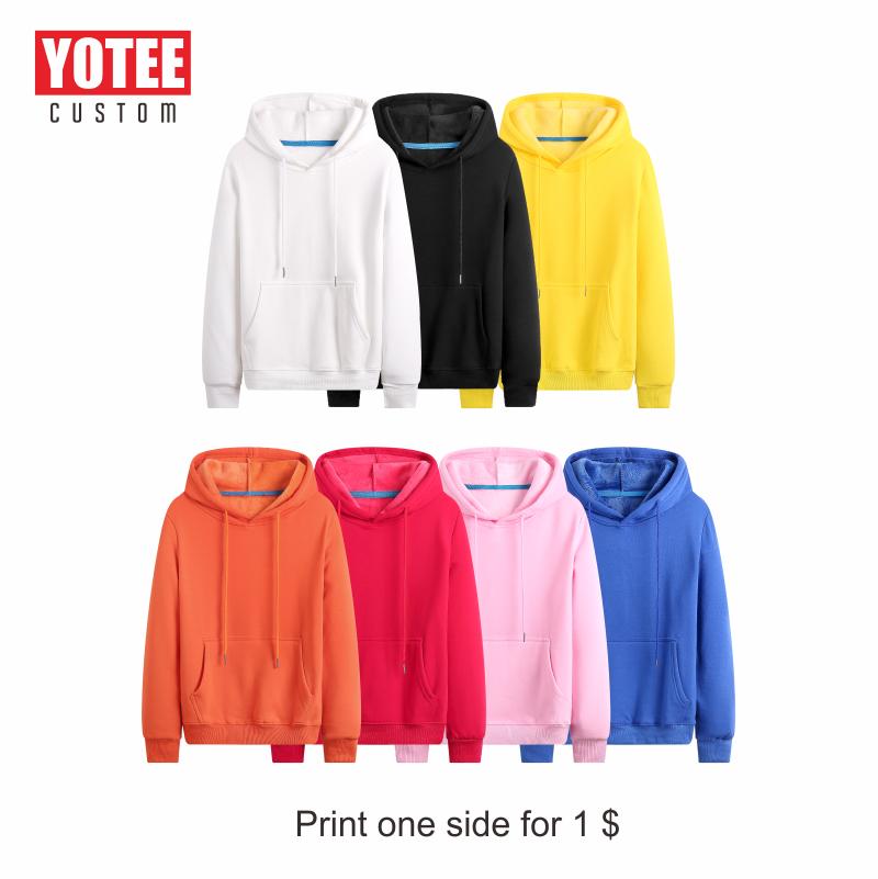 Yotee Hoodies Kaus 2019 Musim Gugur Musim Dingin Plus Ukuran Lengan Panjang Saku Pullover Hoodie Pria Wanita Kasual Hangat Hooded Keringat