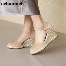 Ochanmeb grande tamanho 43 44 natural cânhamo sola plataforma cunhas saltos sapatos femininos estilo de duas peças tornozelo fivela cinta bombas 33