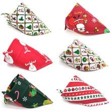 1 Pcs Christmas Pet Dog Bandana Scarf Small Large Bibs Towel Santa Claus Cute Neckerchief Accessories