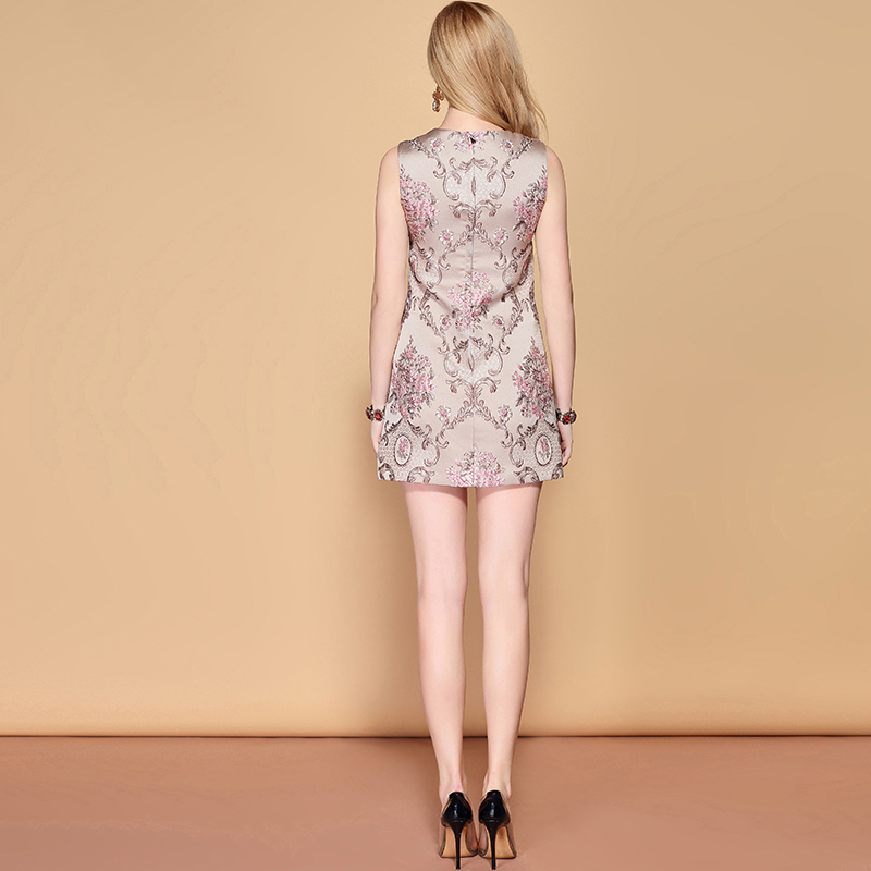 Baogarret 2019 Fashion Runway A Line Summer Dress Women 39 s Sleeveless Crystal Beading Floral Jacquard Mini Vintage Dress in Dresses from Women 39 s Clothing