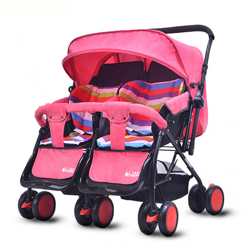 Twins Baby Stroller Folding Double Baby Stroller for Twins Travel Umbrella Car Baby Carriage Can Lie Down Pram Wheelchair 0~36 M