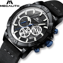 MEGALITH Sport Waterproof Watches Men Top Brand Luxury Luminous Chronograph For Black Leather Relogio Masculino 8086