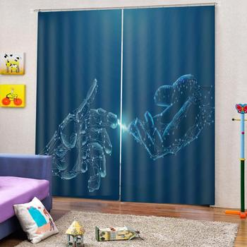 High quality custom 3d curtain fabric  blue curtains Beautiful Photo Fashion Customized 3D Curtains