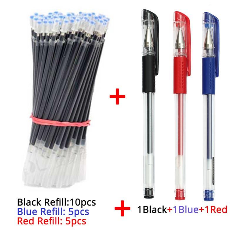 Recharge de stylos Gel 3 + 20 pièces/ensemble, encre noire bleue rouge, pointe de balle 0.5mm, papeterie fournitures scolaires