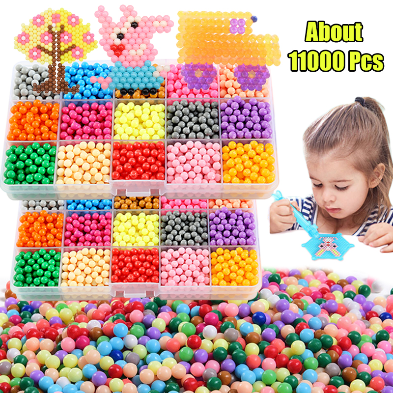 11000pcs 3D Handmade Refill Hama Beads Pearls Puzzle Kids Toys DIY Water Spray Beads Set Ball Games MagicToys for girls Children 1