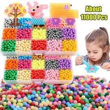 11000 pçs 3d artesanal recarga hama contas pérolas quebra-cabeça crianças brinquedos diy spray de água contas conjunto bola jogos magictoys para meninas crianças