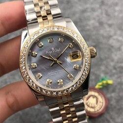 Luxe Merk Nieuwe Vrouwen Datejust Rvs Automatische Mechanische Sapphire Gold Shell Grey Dial Diamanten Bezel Horloge 31mm AAA