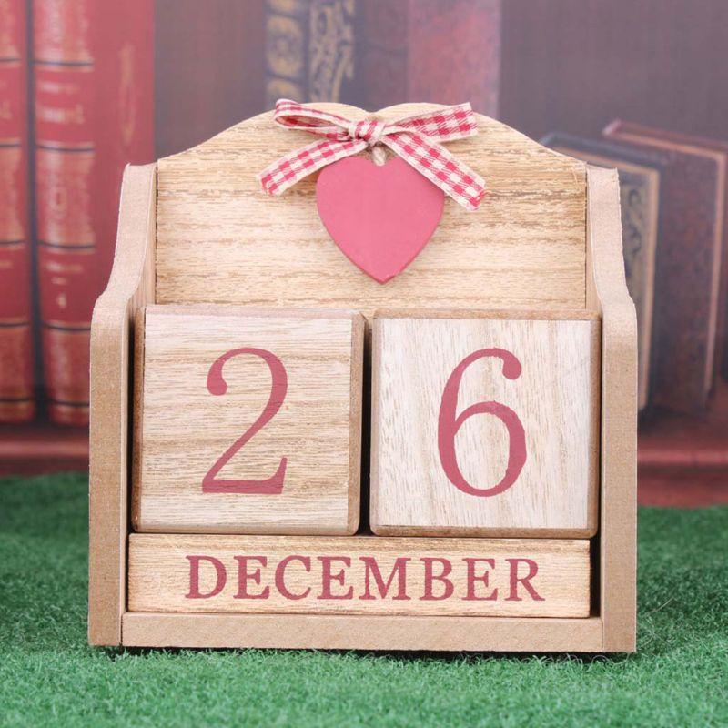 Image 4 - Vintage Wooden Perpetual Calendar Month Date Display Eternal Blocks Photography Props Desktop Accessories Home Office DecorationCalendar   -