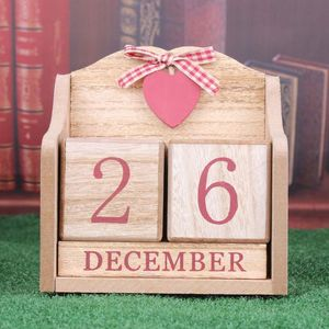 Image 4 - Vintage Wooden Perpetual Calendar Month Date Display Eternal Blocks Photography Props Desktop Accessories Home Office Decoration