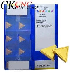 10 sztuk TPMR110304 YBM251 TPMR160304 YBM251 TPMR160304 tokarka cnc z węglika trójkąt płytki frezarskie do uchwyt frezarski w Narzędzia tokarskie od Narzędzia na