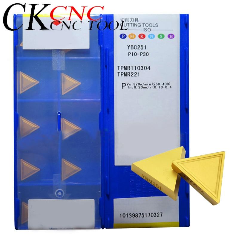 10pcs TPMR110304 YBM251 TPMR160304 YBM251 TPMR160304 YBC251 ZCC.CT CNC Lathe Carbide Triangle Milling Inserts For Milling Holder